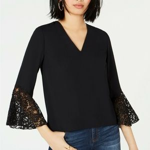 Bar lll Blouse Top Lace trim Bell Sleeve Black L